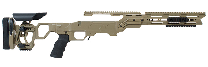 Cadex Field Tactical Chassis Tan with Skeleton Buttstock for Savage  110/111/114/116 Long Action 3 850 Sleeve ( 338LM CIP) STKFT-SAV-RH-LA