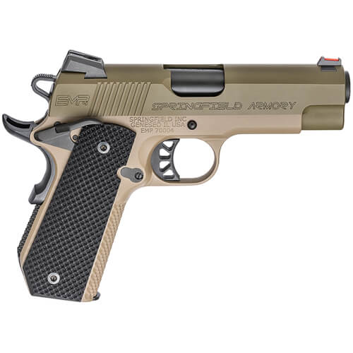 Springfield Armory 1911-A1 EMP 4 9mm Champion OD Green Slide / Desert FDE  Frame Conceal Carry Contour Pistol (w/ 3 Mags & G10 Grips) PI9229GF