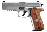 Sig Sauer P226 STAINLESS ENGRAVED, Engraved Natural Stainless Steel Slide, Custom Wood Grips with SI E26R-9-SSS-ESM